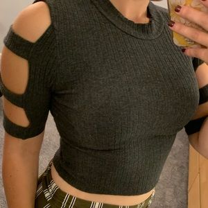 Grey crop top sweater with strapped sleeves